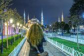 Tourist enjoy Blue Mosque — Stock Photo