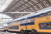 Train inside the central station — Stock Photo
