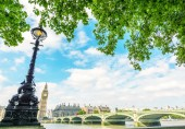 Westminster Bridge and Palace, London — Stock Photo