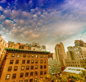 Buildings and roof garden in Manhattan — Stock Photo