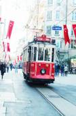 The old tram and people in Istiklal Caddesi — Stock Photo