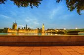 Houses of Parliament framed by trees — Stock Photo