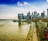 Lower Manhattan panoramic skyline — Stock Photo