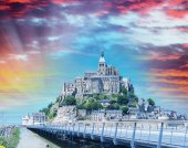 Fortress of Mont Saint-Michel, Normandy, France — Stock Photo