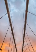 Wires and structure of suspension bridge — Stock Photo