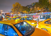 Taxi along city streets. In Istanbul — Stock Photo