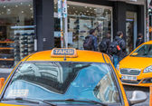Taxi on city streets in Istanbul — Stock Photo