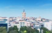 Blurred zoomed view of Galata tower — Stock Photo