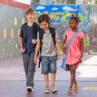 Group of multiracial schoolmates walking and smiling — Stock Photo #63155833