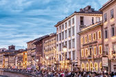 People at  Luminara festival in Pisa — Stock Photo