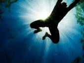 Man swimming in the sea with sunbeams shining through — Stock Photo