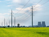 High voltage power lines. In foreground green fields, in backgro — Stock Photo