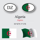 Algeria flags and icons set — Stock Vector