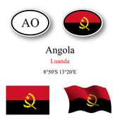 Angola flags and icons set — Stock Vector