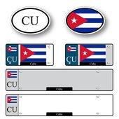 Cuba auto set — Stock Vector