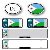 Djibouti auto set — Stock Vector