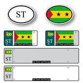 Sao tome and principe auto set — Stock Vector