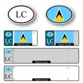 Saint lucia auto set — Stock Vector