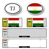 Tajikistan auto set — Stock Vector
