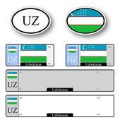 Uzbekistan auto set — Stock Vector