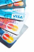Close photo of Visa and MasterCard credit cards — Stock Photo