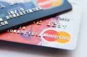 Close photo of MasterCard credit cards — Stock Photo