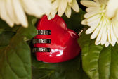 Red heart lock and flowers — Stock fotografie