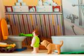 Little plastic toys. child in bathroom — Stock Photo