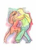 Couple dancing Argentine Tango — Stock Photo