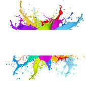 Fresh banner with colorful splash effect — 图库照片