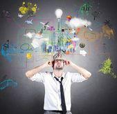 Creative idea of businessman — Stock Photo