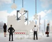 Businesspeople builds new company — Stock Photo