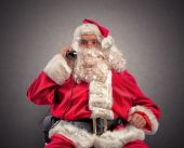 Santa receives requests via telephone — Stock Photo