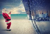 Santa Claus pulls the winter — Foto de Stock