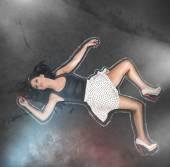Chalk around a girl — Stock Photo