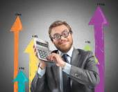 Businessman with a calculator — Foto de Stock
