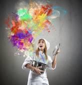 Chef prepares magic in kitchen — Stock Photo