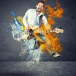 Boy with bass guitar — Stock Photo #56057231