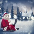 Santa Claus with laptop — Stock Photo #56118899