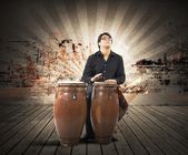 Young percussionist playing — Stock Photo