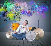Drummer thinks a new sound — Stock Photo
