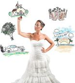 Woman arranges marriage with draft project — Stock Photo