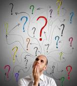 Businessman gets questions — Stock Photo