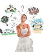 Woman thinks how organize wedding — Stock Photo