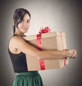 Girl receives her gift — Stock Photo