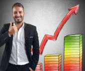 Businessman achieved profits for its investments — Stock Photo
