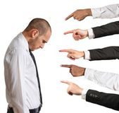 Businessman accused with hands that indicate — Stock Photo