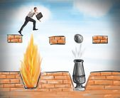 Businessman jumps to overcome obstacles — Stock Photo