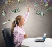 Businesswoman exults for her money — Stock Photo