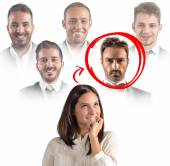 Businesswoman thinks which colleague choose — Stock Photo